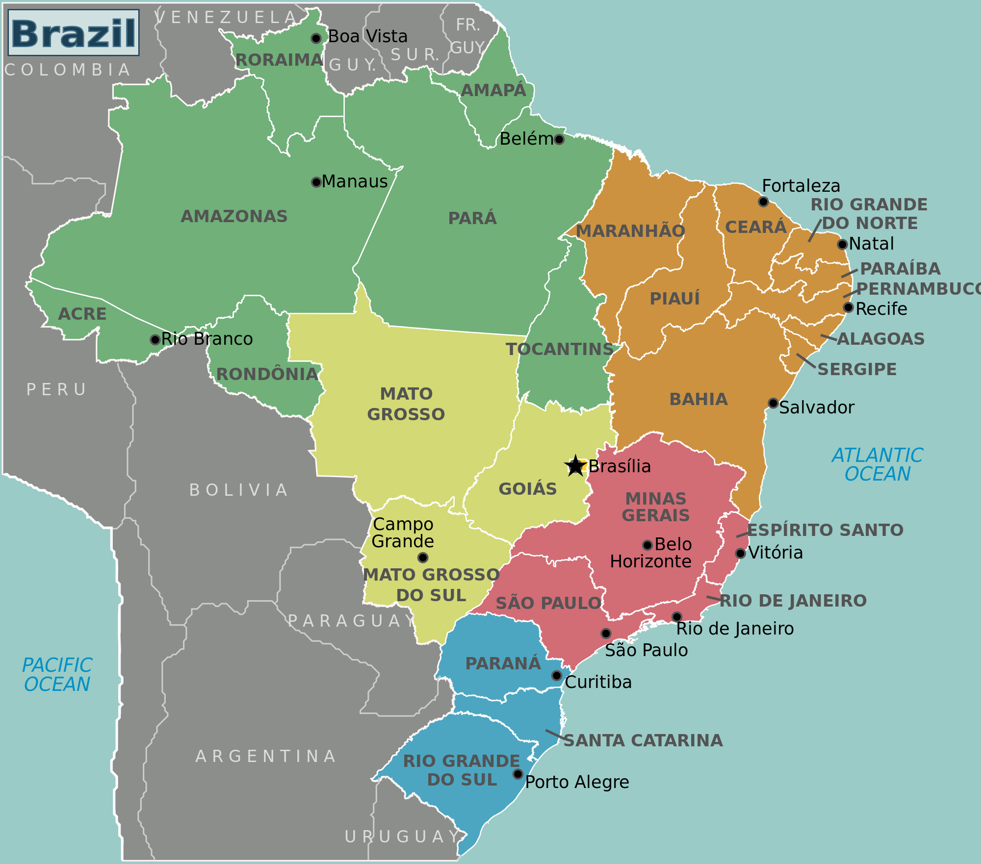 Large detailed Brazil regions map. Brazil regions large detailed map
