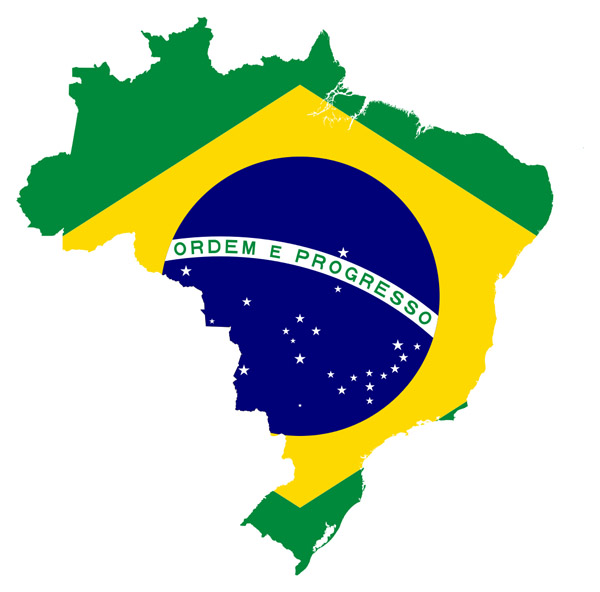 Large detailed flag map of Brazil. Brazil large detailed flag map.