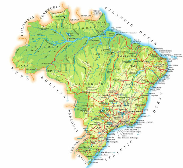 Large detailed physical map of Brazil. Brazil large detailed physical map.