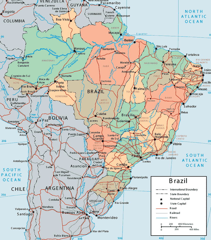 map of Brazil. Brazil large detailed political and administrative map