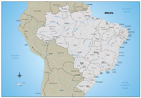 Large detailed political and administrative map of Brazil with highways and major cities.