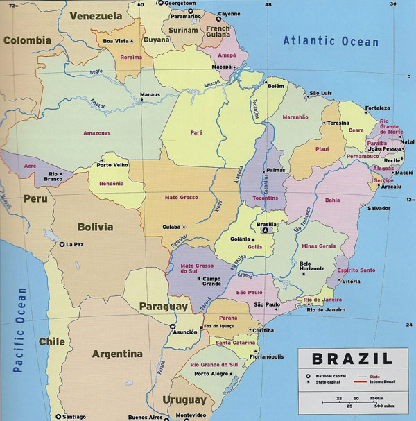 Large detailed political and administrative map of Brazil with national capital and state capitals.