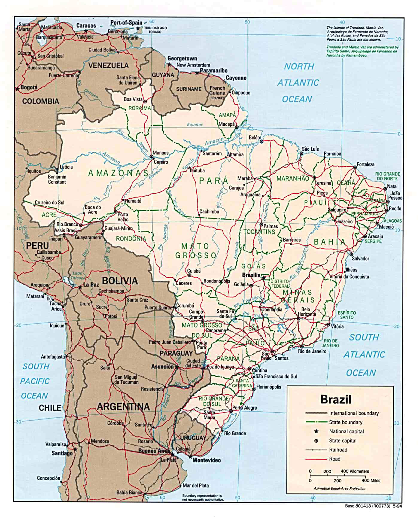Large Detailed Political Map Of Brazil With Roads And Cities - Political map of brazil