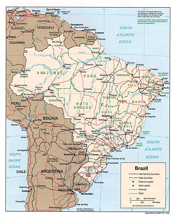 Large detailed political map of Brazil with roads and cities.