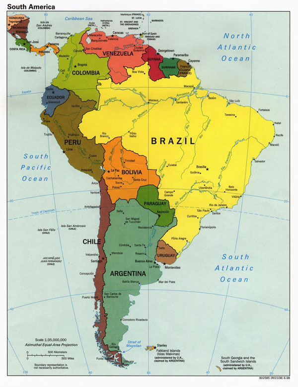 Large detailed political map of South America.