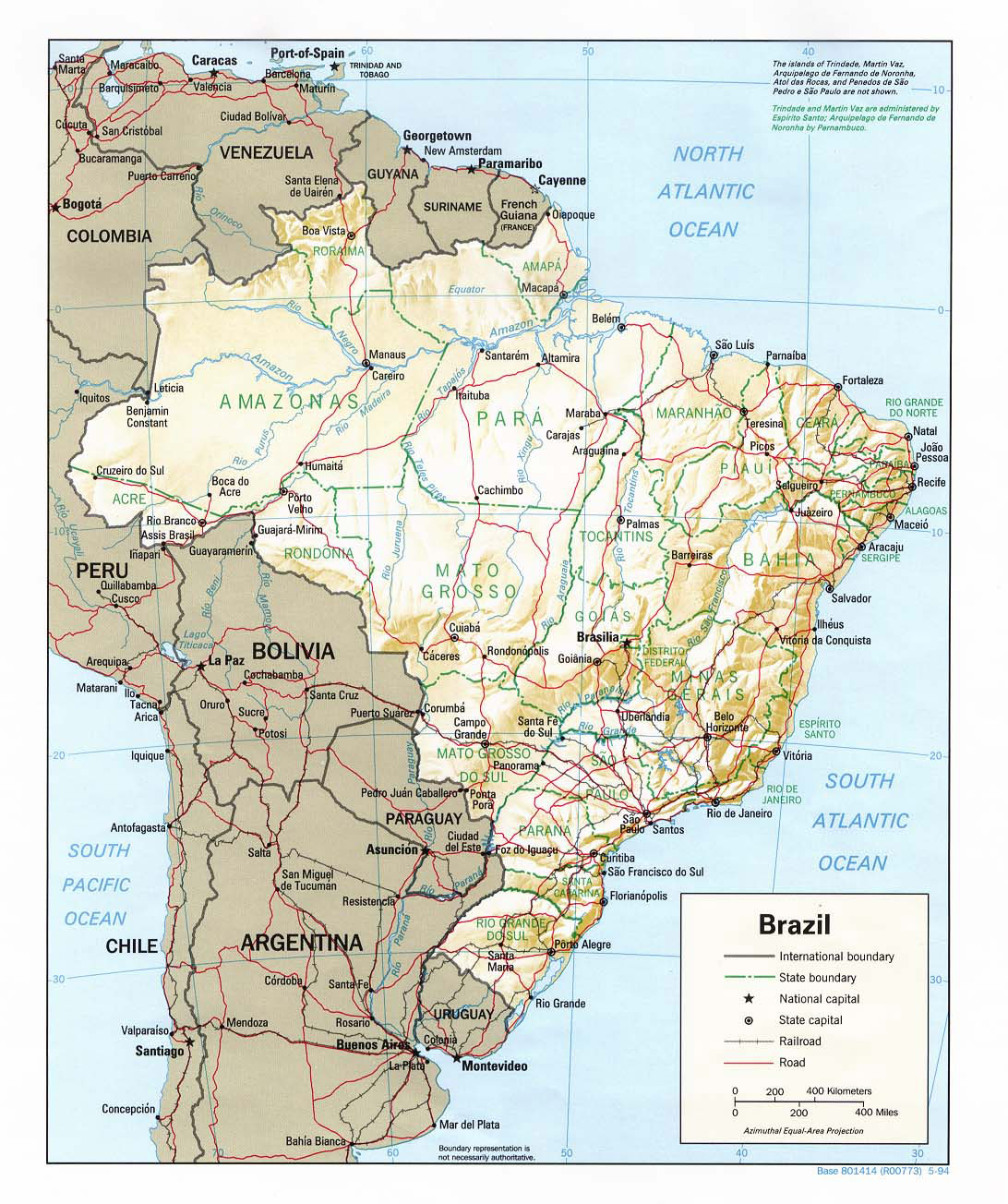 Large detailed relief and political map of Brazil with roads Brazil