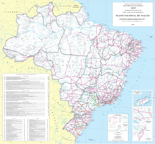 Large detailed road map of Brazil. Brazil large detailed road map.