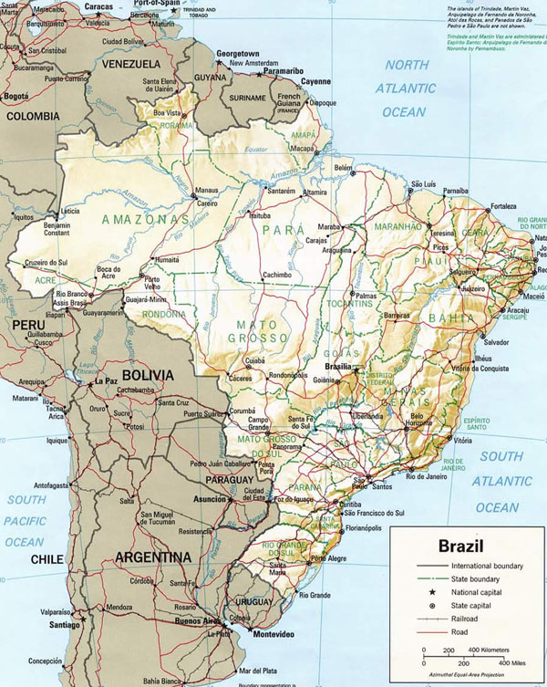 Relief and roads map of Brazil. Brazil relief and roads map.