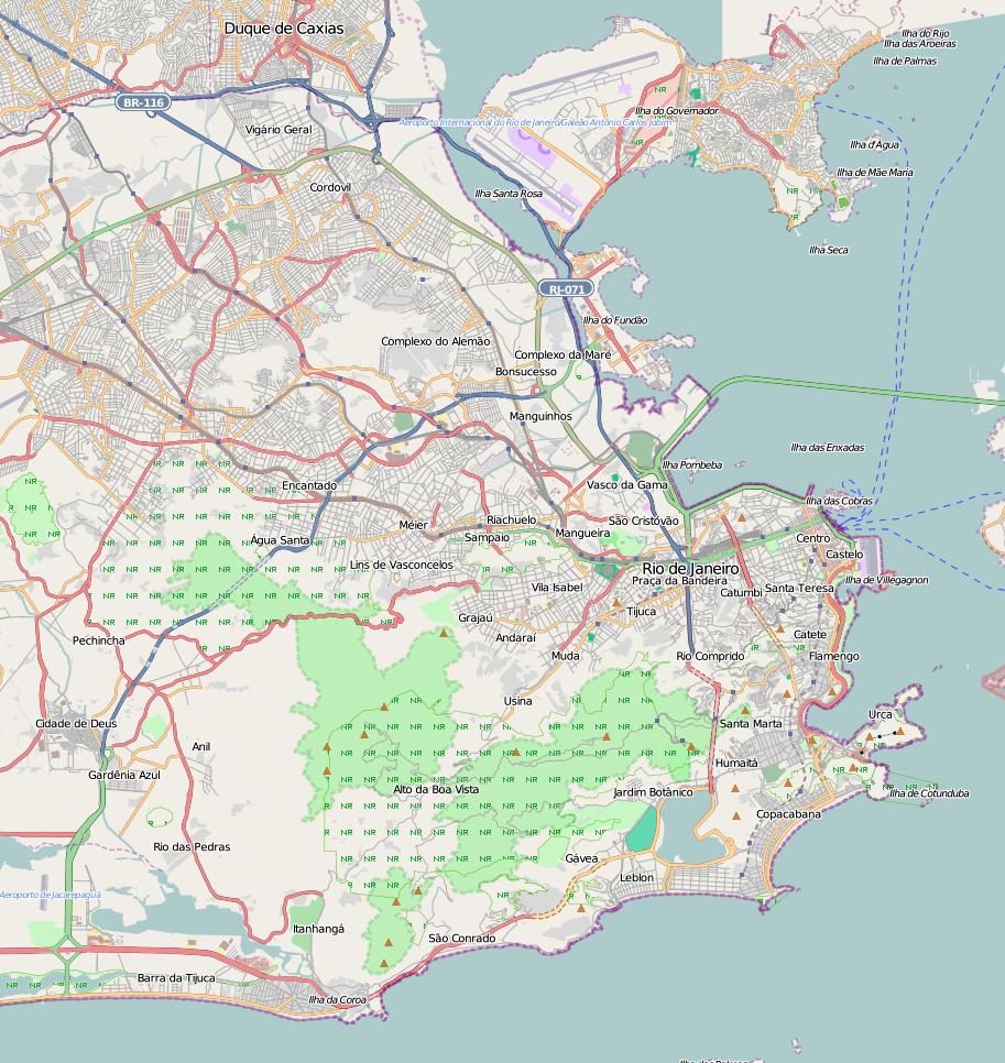 Road map of Rio de Janeiro city. Rio de Janeiro road map | Vidiani ...