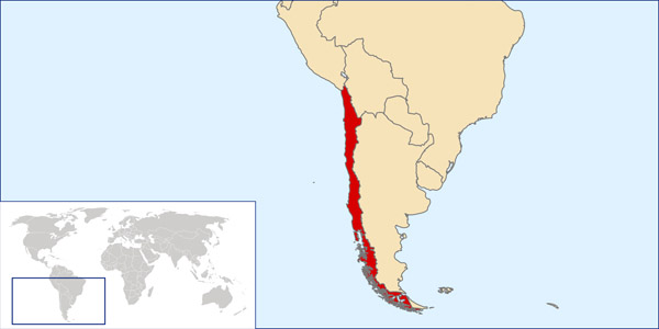 Chile location map. Location map of Chile.