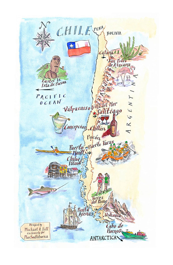 Detailed illustrated map of Chile. Chile detailed illustrated map.