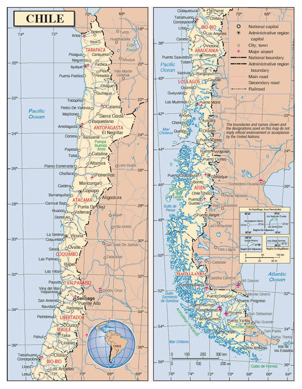 Detailed political and administrative map of Chile with roads, cities and airports.