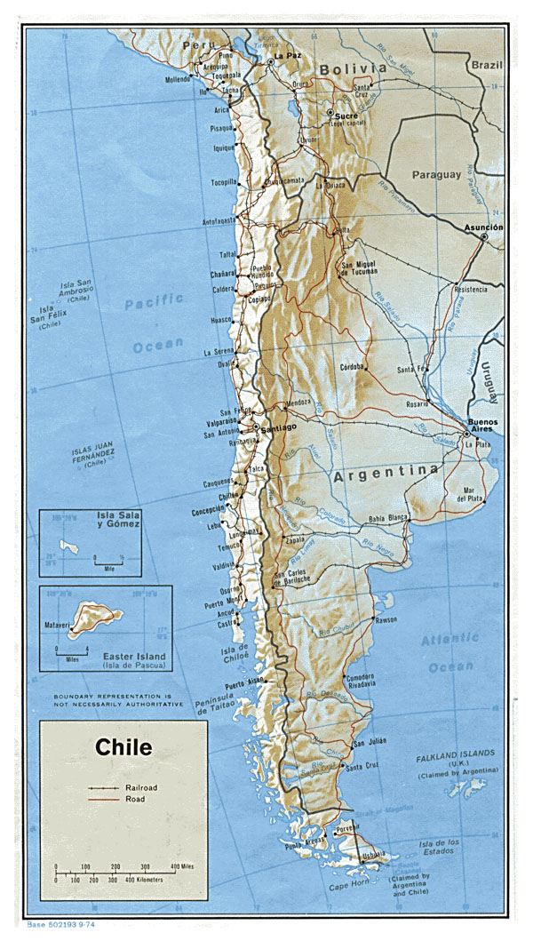 Detailed political map of Chile with relief, roads and major cities - 1974.