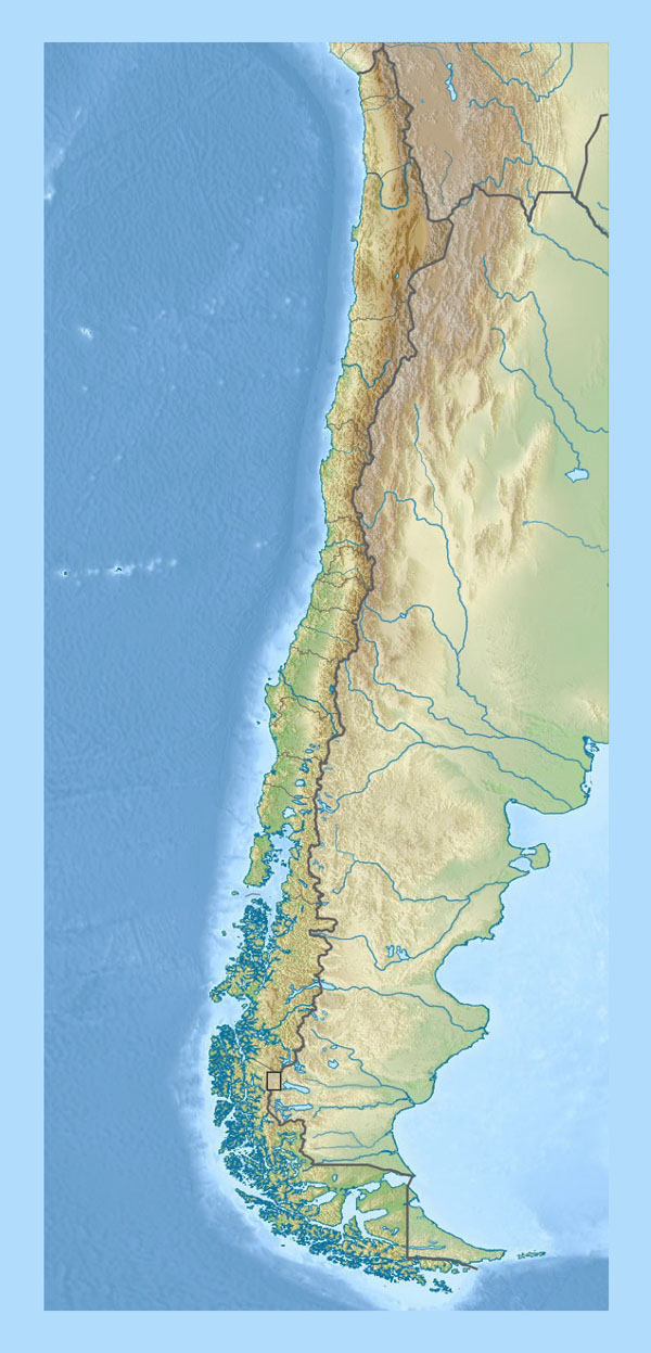 Detailed relief map of Chile. Chile detailed relief map.