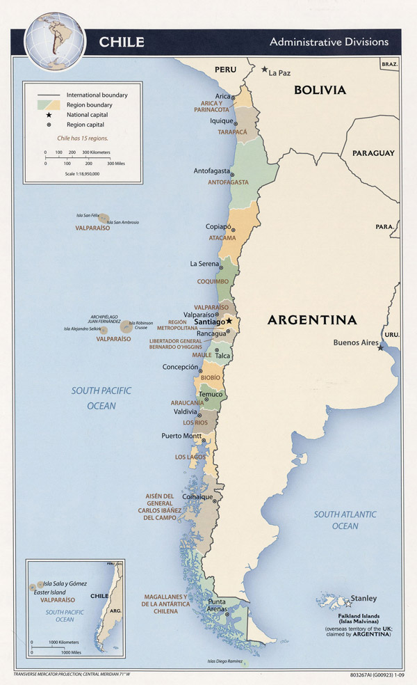Large detailed administrative map of Chile. Chile large detailed administrative map.