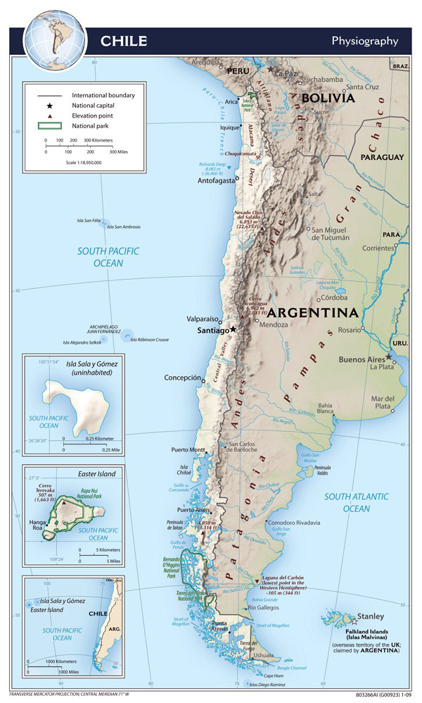 Large detailed physiography map of Chile - 2009.