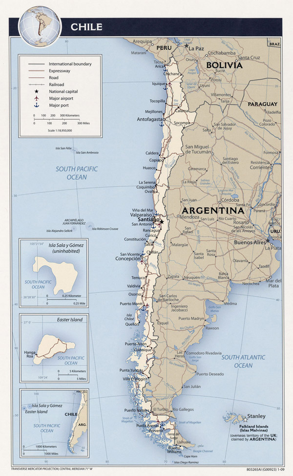 Large detailed political and administrative map of Chile.