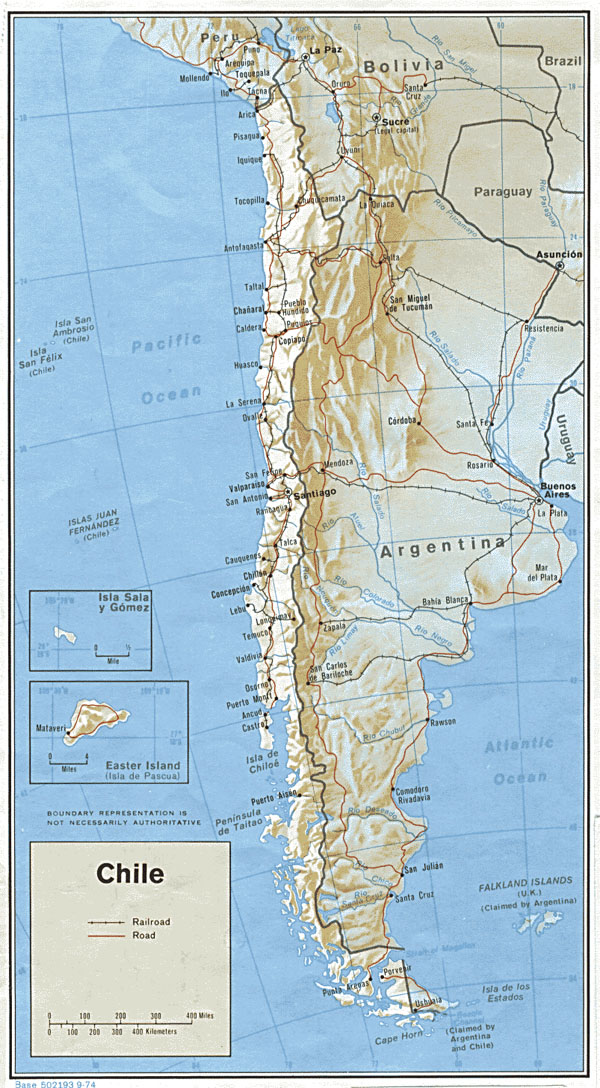 Large detailed political and administrative map of Chile with cities.