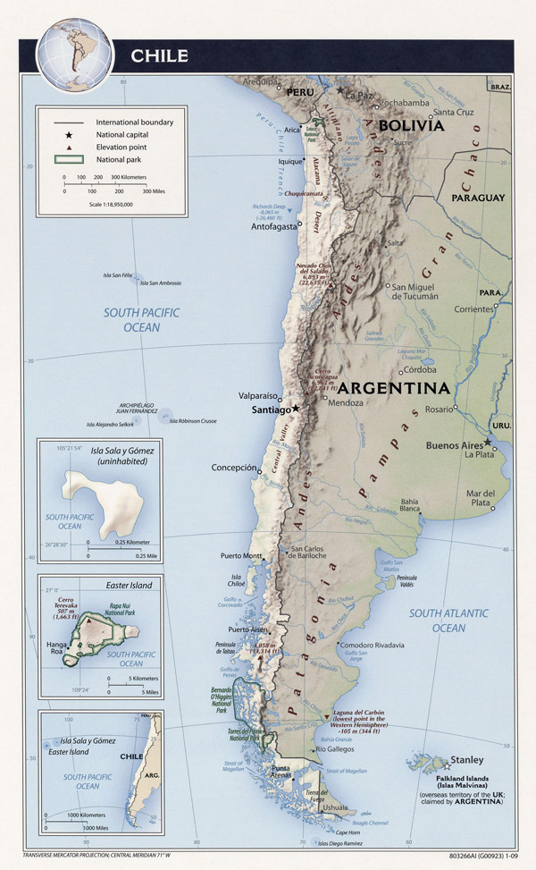 Large detailed relief and political map of Chile.