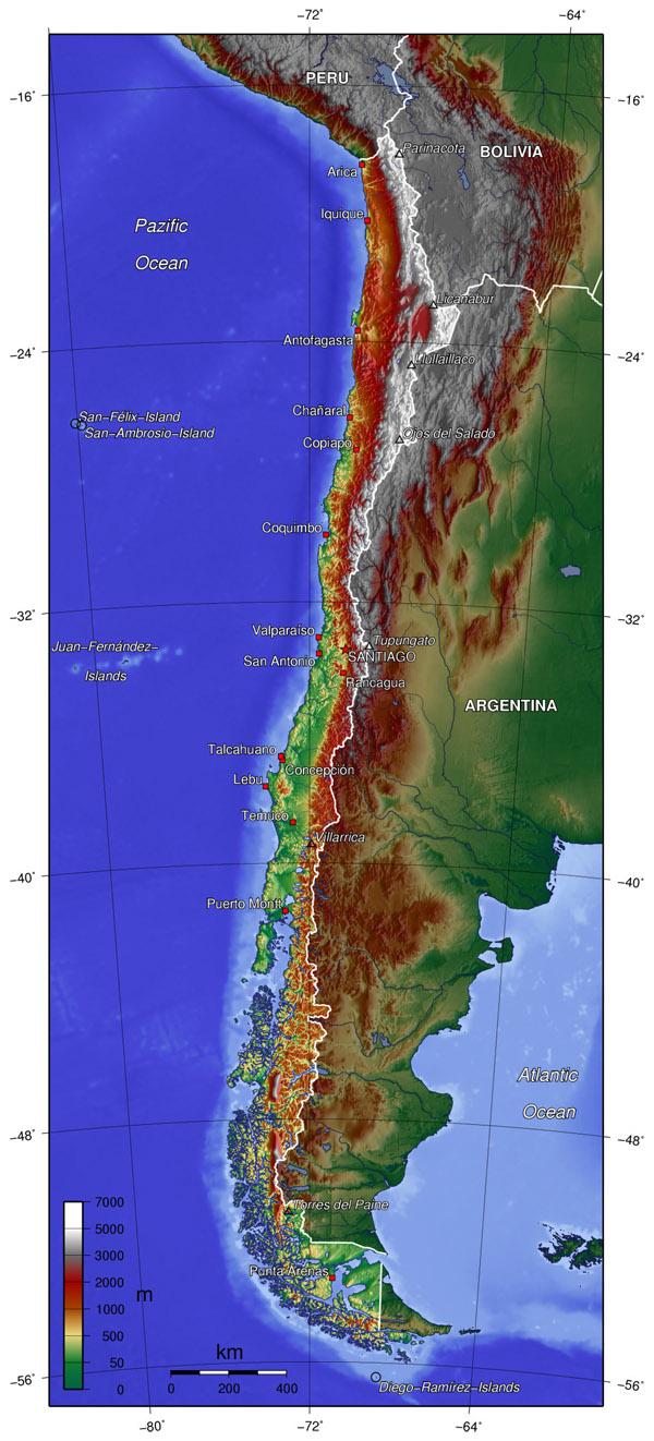 Large detailed topographical map of Chile. Chile large detailed topographical map.