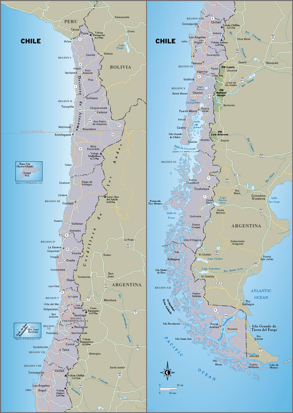 Large detailed travel map of Chile. Chile large detailed travel map.