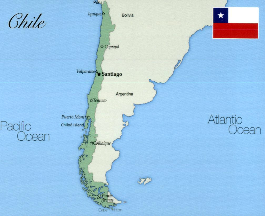 Large map of Chile with major cities Vidianicom Maps of all