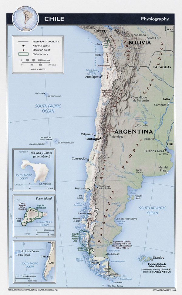 Large physiography map of Chile - 2009.