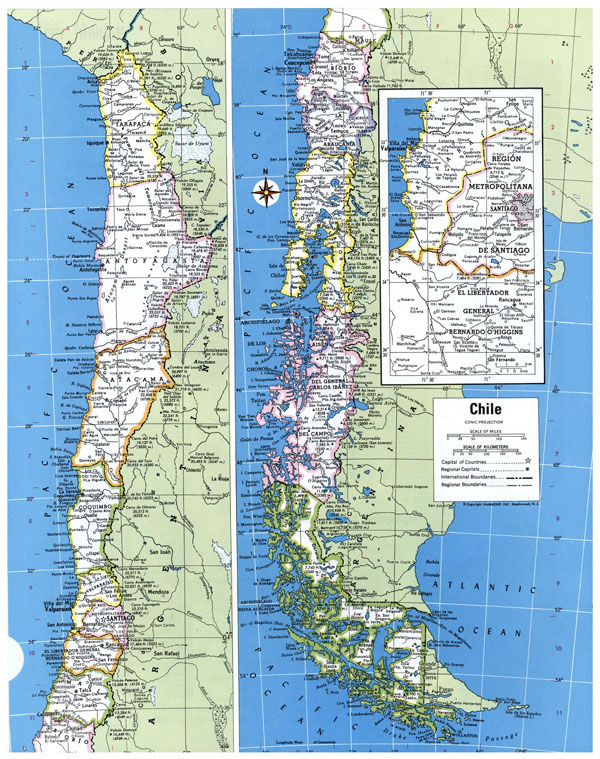 Large political and administrative map of Chile with all cities.