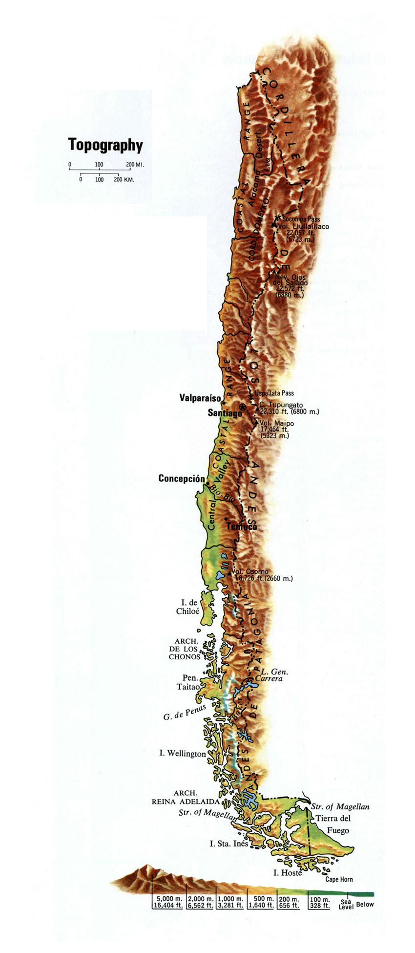 Large topography map of Chile Chile large topography map Vidiani
