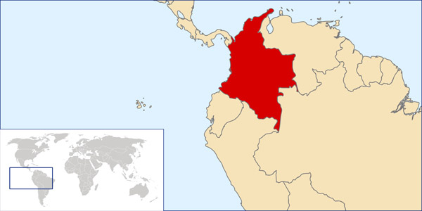 Colombia location map. Map of Colombia location.