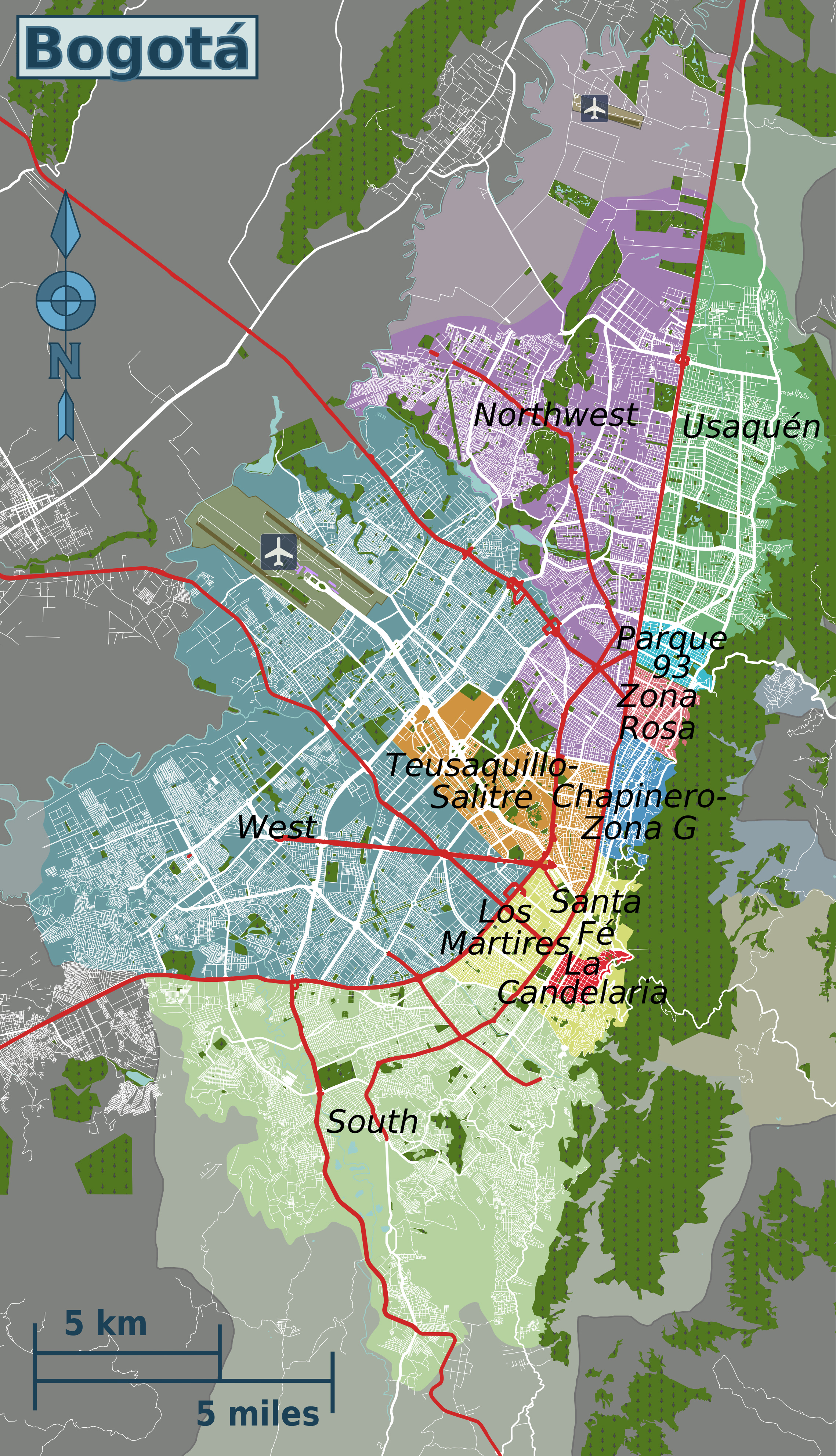 Detailed map of Bogota districts. Bogota detailed districts ...