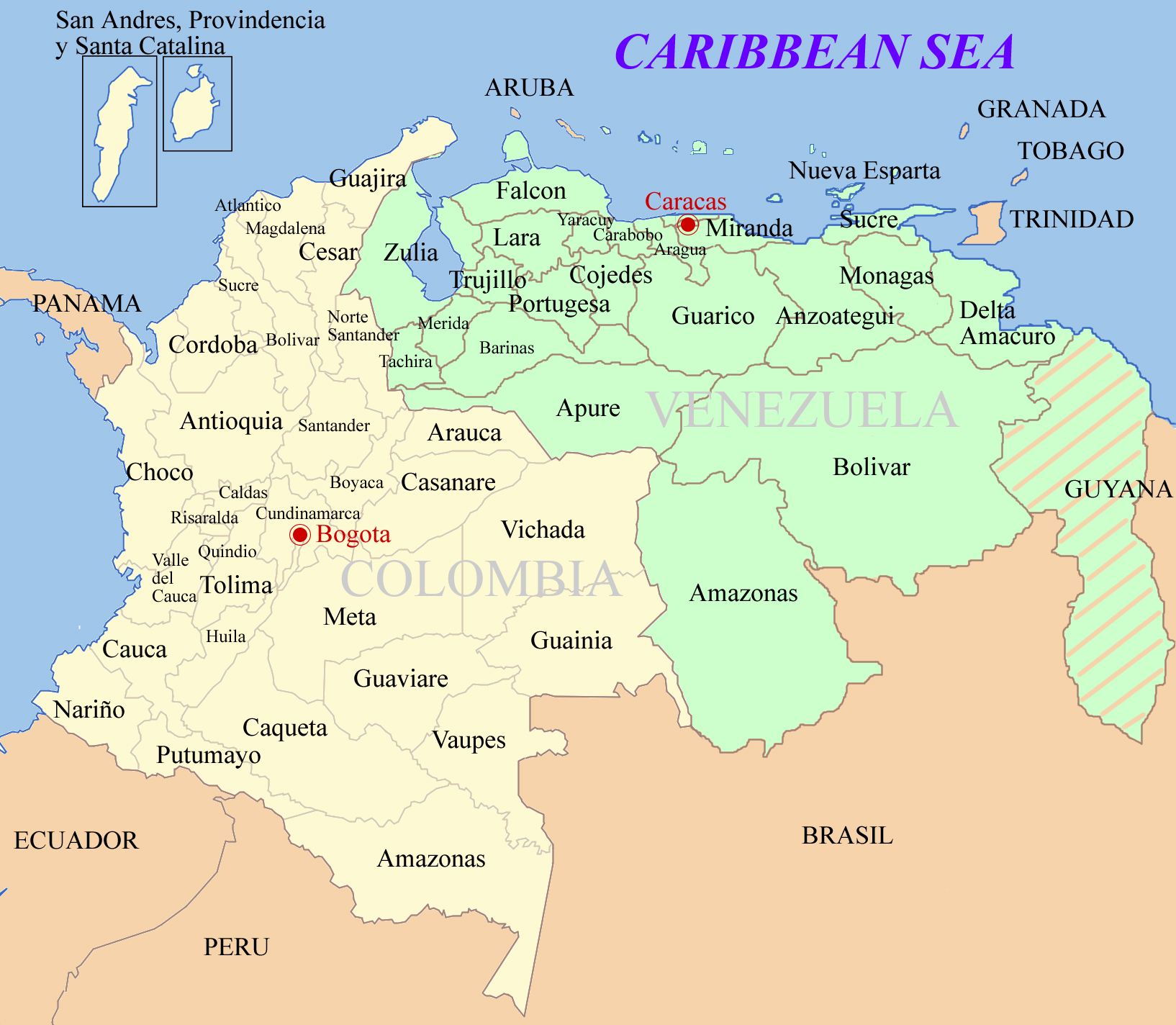 Detailed Map Of Colombia And Venezuela Colombia And