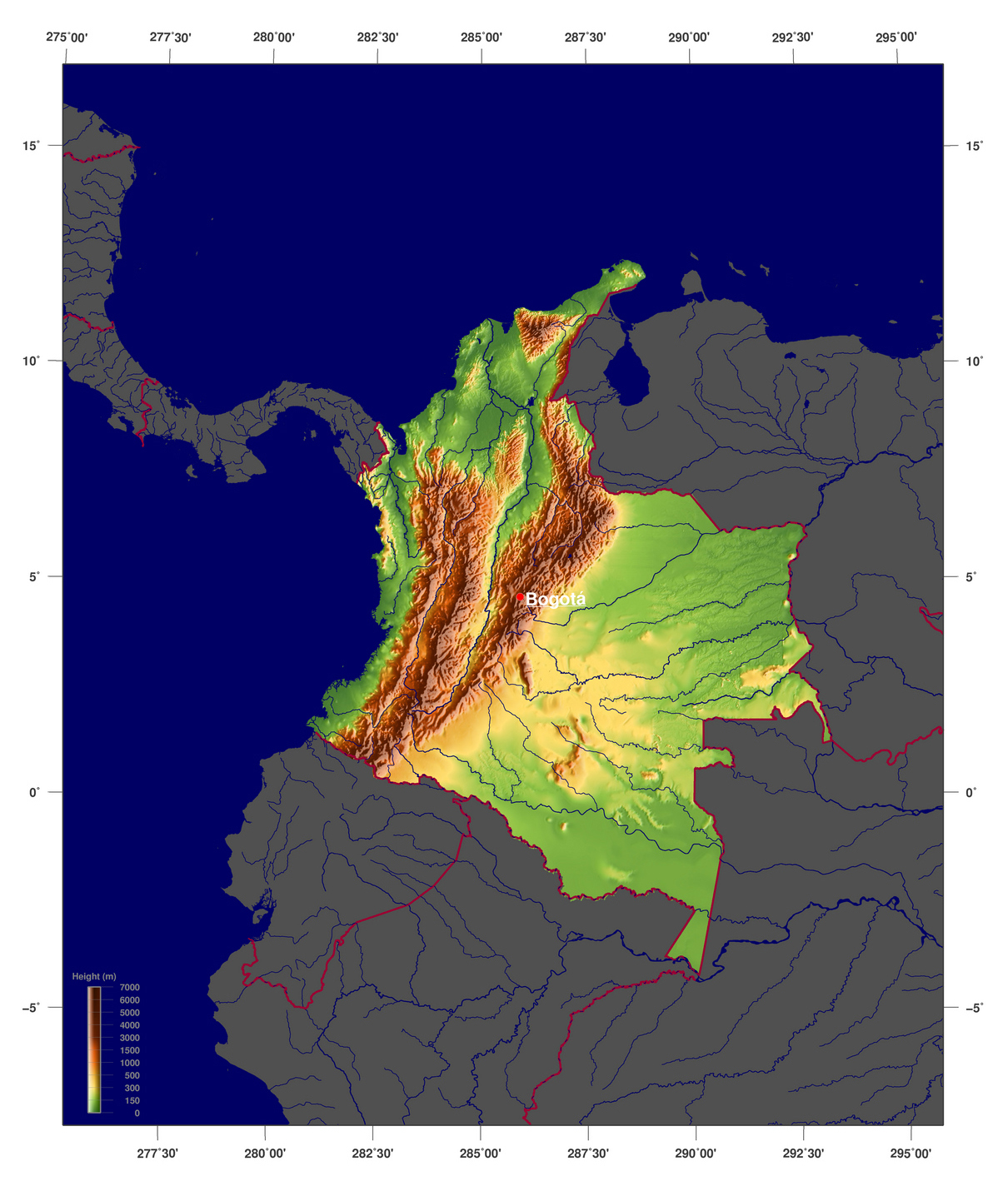Detailed Physical Map Of Colombia Colombia Detailed Physical Map - Physical map of colombia