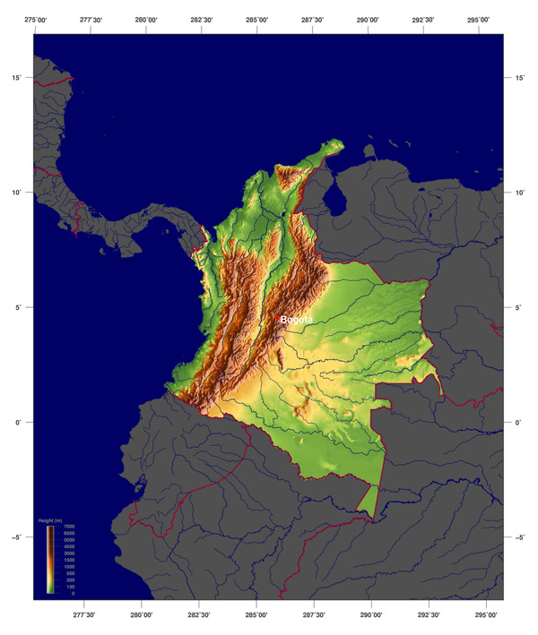 Detailed physical map of Colombia. Colombia detailed physical map.