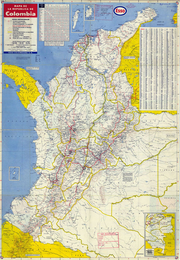 Detailed road map of Colombia with airports. Colombia detailed road map with airports.