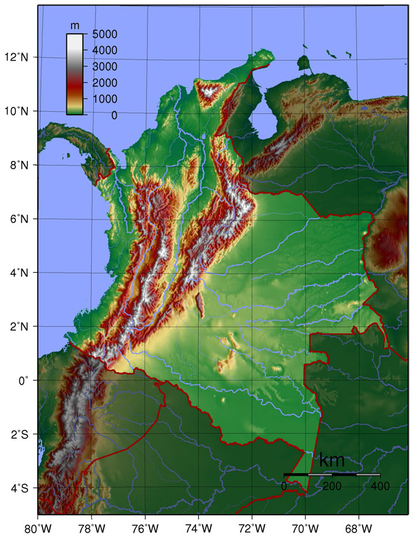 Detailed topographical map of Colombia. Colombia detailed topographical map.
