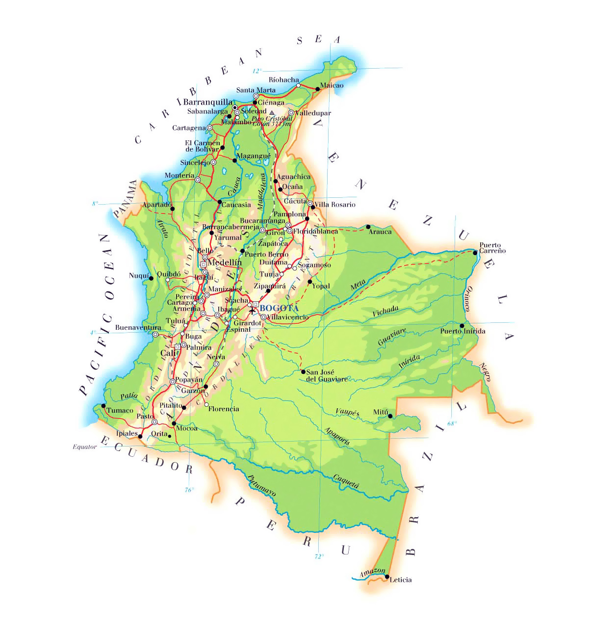 Elevation map of Colombia with roads, cities and airports