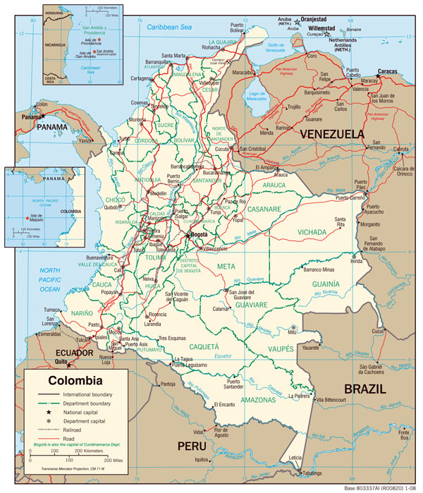 Large detailed administrative and political map of Colombia.