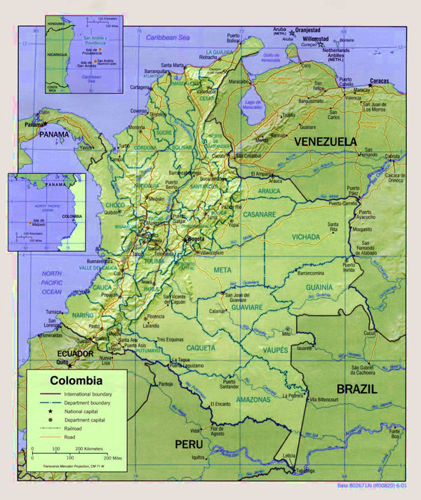 Large detailed administrative and political map of Colombia with relief and roads.