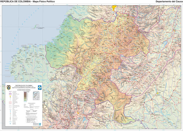 Large detailed physical map of Colombia. Colombia large detailed physical map.