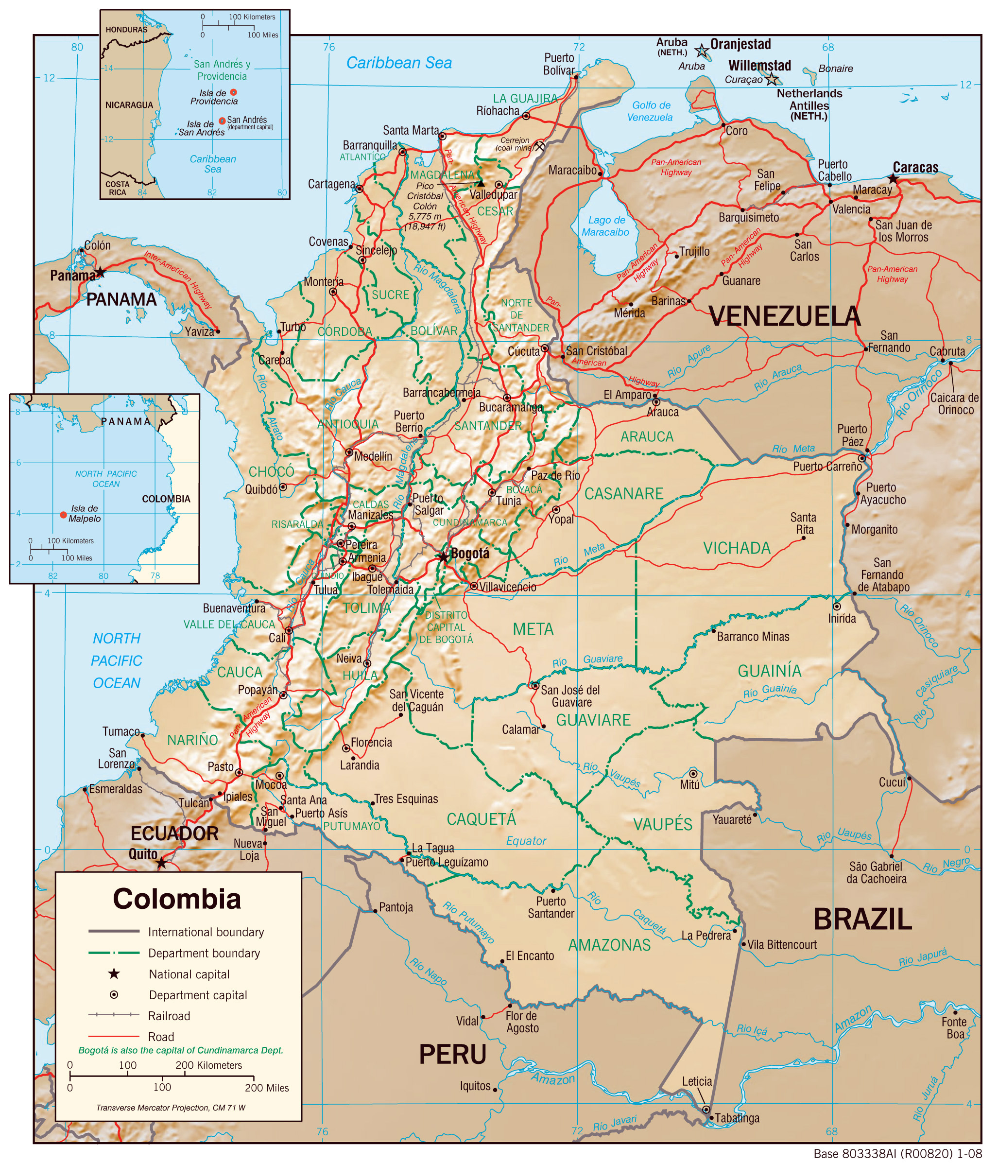 Large detailed physiography map of Colombia with major