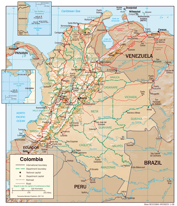 Large detailed physiography map of Colombia with major cities and roads - 2008.