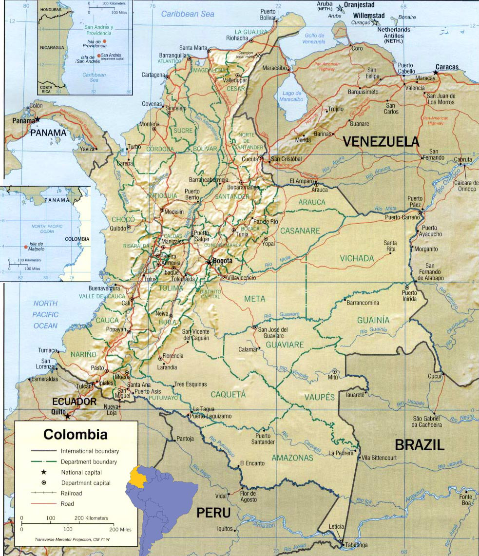 Large detailed political and administrative map of Colombia with all