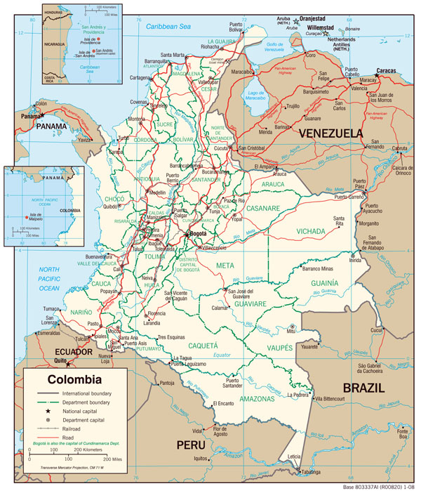 Large detailed political map of Colombia with administrative divisions, major cities and roads - 2008.