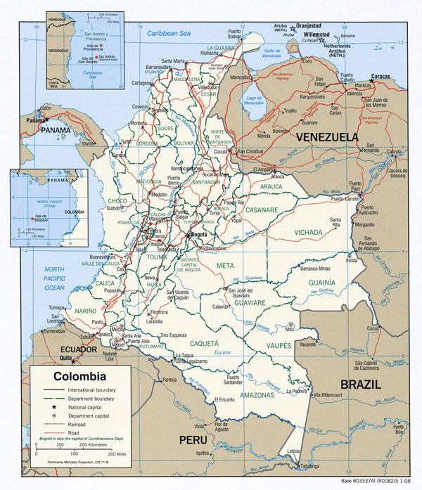 Large detailed political map of Colombia with major cities and roads - 2008.
