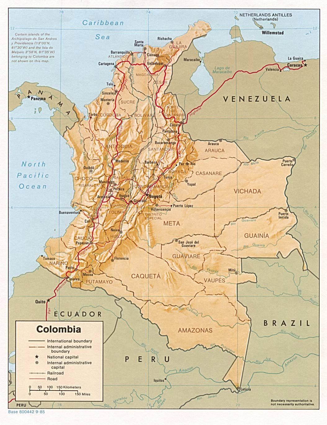 Large detailed relief and administrative map of Colombia with cities