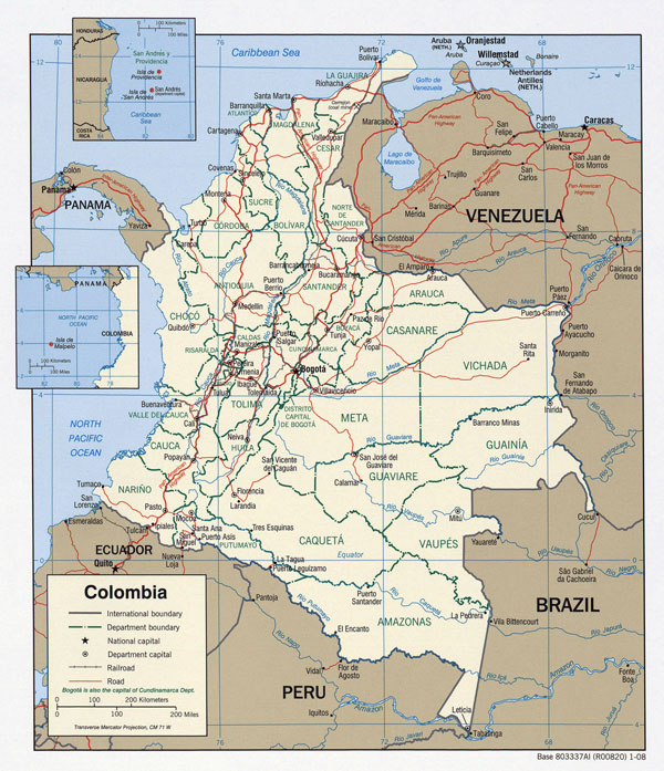 Large detailed road and administrative map of Colombia.