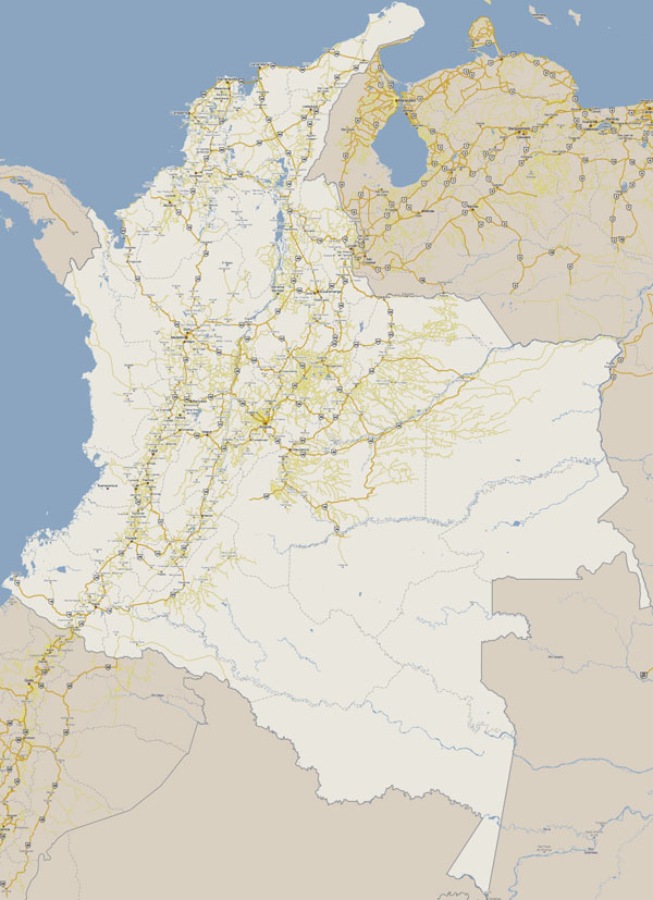 Large detailed roads map of Colombia. Colombia large detailed roads map.