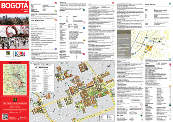 Large detailed tourist map of historical part of Bogota city in English.