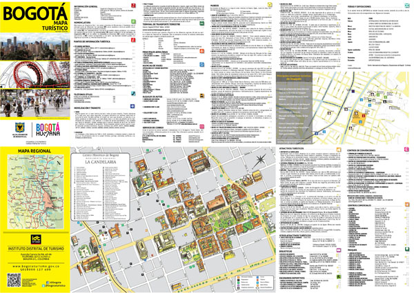 Large detailed tourist map of historical part of Bogota city in Spain.